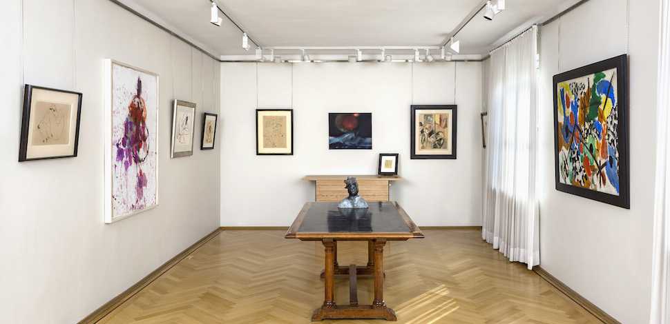 Exhibition view Kunst 5 with works by Egon Schiele, Martha Jungwirth, George Grosz, Leiko Ikemura, Ernst Wilhelm Nay, and others